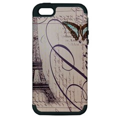 Vintage Scripts Floral Scripts Butterfly Eiffel Tower Vintage Paris Fashion Apple iPhone 5 Hardshell Case (PC+Silicone)