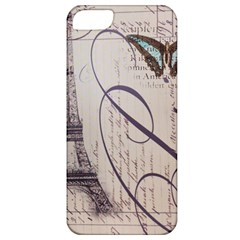 Vintage Scripts Floral Scripts Butterfly Eiffel Tower Vintage Paris Fashion Apple Iphone 5 Classic Hardshell Case