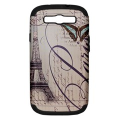 Vintage Scripts Floral Scripts Butterfly Eiffel Tower Vintage Paris Fashion Samsung Galaxy S III Hardshell Case (PC+Silicone)