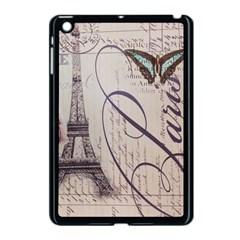 Vintage Scripts Floral Scripts Butterfly Eiffel Tower Vintage Paris Fashion Apple iPad Mini Case (Black)