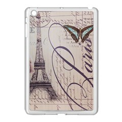 Vintage Scripts Floral Scripts Butterfly Eiffel Tower Vintage Paris Fashion Apple Ipad Mini Case (white)