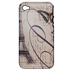 Vintage Scripts Floral Scripts Butterfly Eiffel Tower Vintage Paris Fashion Apple Iphone 4/4s Hardshell Case (pc+silicone)