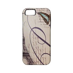 Vintage Scripts Floral Scripts Butterfly Eiffel Tower Vintage Paris Fashion Apple iPhone 5 Classic Hardshell Case (PC+Silicone)
