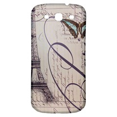Vintage Scripts Floral Scripts Butterfly Eiffel Tower Vintage Paris Fashion Samsung Galaxy S3 S Iii Classic Hardshell Back Case