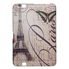 Vintage Scripts Floral Scripts Butterfly Eiffel Tower Vintage Paris Fashion Kindle Fire HD 8.9  Hardshell Case