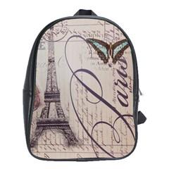 Vintage Scripts Floral Scripts Butterfly Eiffel Tower Vintage Paris Fashion School Bag (xl)