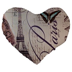 Vintage Scripts Floral Scripts Butterfly Eiffel Tower Vintage Paris Fashion 19  Premium Heart Shape Cushion