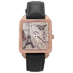 Vintage Scripts Floral Scripts Butterfly Eiffel Tower Vintage Paris Fashion Rose Gold Leather Watch