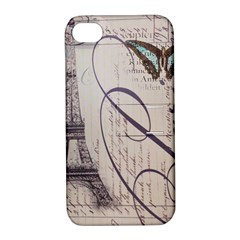 Vintage Scripts Floral Scripts Butterfly Eiffel Tower Vintage Paris Fashion Apple iPhone 4/4S Hardshell Case with Stand