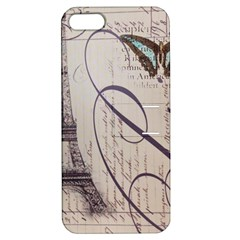 Vintage Scripts Floral Scripts Butterfly Eiffel Tower Vintage Paris Fashion Apple iPhone 5 Hardshell Case with Stand
