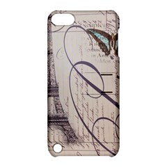 Vintage Scripts Floral Scripts Butterfly Eiffel Tower Vintage Paris Fashion Apple iPod Touch 5 Hardshell Case with Stand