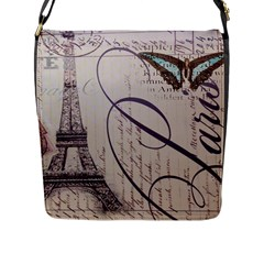 Vintage Scripts Floral Scripts Butterfly Eiffel Tower Vintage Paris Fashion Flap Closure Messenger Bag (large)