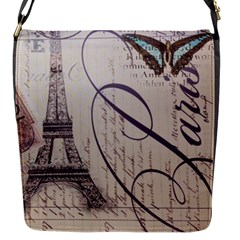 Vintage Scripts Floral Scripts Butterfly Eiffel Tower Vintage Paris Fashion Flap Closure Messenger Bag (small)