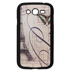 Vintage Scripts Floral Scripts Butterfly Eiffel Tower Vintage Paris Fashion Samsung I9082(Galaxy Grand DUOS)(Black)