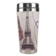Vintage Scripts Floral Scripts Butterfly Eiffel Tower Vintage Paris Fashion Stainless Steel Travel Tumbler