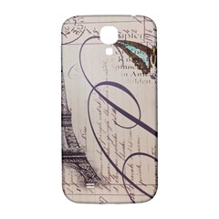 Vintage Scripts Floral Scripts Butterfly Eiffel Tower Vintage Paris Fashion Samsung Galaxy S4 I9500/I9505  Hardshell Back Case