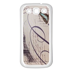 Vintage Scripts Floral Scripts Butterfly Eiffel Tower Vintage Paris Fashion Samsung Galaxy S3 Back Case (White)