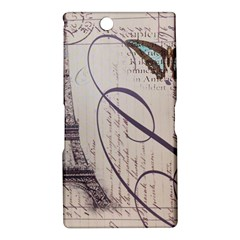 Vintage Scripts Floral Scripts Butterfly Eiffel Tower Vintage Paris Fashion Sony Xperia XL39h (Xperia Z Ultra) Hardshell Case