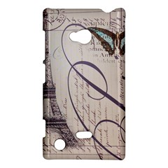 Vintage Scripts Floral Scripts Butterfly Eiffel Tower Vintage Paris Fashion Nokia Lumia 720 Hardshell Case