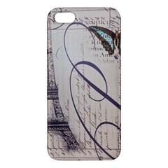 Vintage Scripts Floral Scripts Butterfly Eiffel Tower Vintage Paris Fashion iPhone 5S Premium Hardshell Case