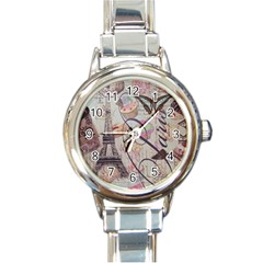 French Pastry Vintage Scripts Floral Scripts Butterfly Eiffel Tower Vintage Paris Fashion Round Italian Charm Watch