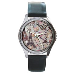 French Pastry Vintage Scripts Floral Scripts Butterfly Eiffel Tower Vintage Paris Fashion Round Metal Watch (silver Rim)