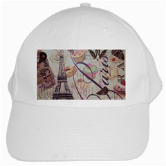 French Pastry Vintage Scripts Floral Scripts Butterfly Eiffel Tower Vintage Paris Fashion White Baseball Cap