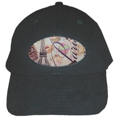 French Pastry Vintage Scripts Floral Scripts Butterfly Eiffel Tower Vintage Paris Fashion Black Baseball Cap