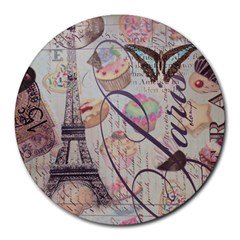 French Pastry Vintage Scripts Floral Scripts Butterfly Eiffel Tower Vintage Paris Fashion 8  Mouse Pad (Round)