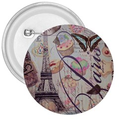 French Pastry Vintage Scripts Floral Scripts Butterfly Eiffel Tower Vintage Paris Fashion 3  Button