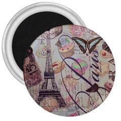 French Pastry Vintage Scripts Floral Scripts Butterfly Eiffel Tower Vintage Paris Fashion 3  Button Magnet