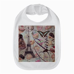French Pastry Vintage Scripts Floral Scripts Butterfly Eiffel Tower Vintage Paris Fashion Bib