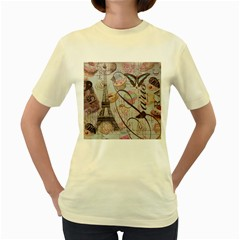 French Pastry Vintage Scripts Floral Scripts Butterfly Eiffel Tower Vintage Paris Fashion  Womens  T Shirt (yellow)