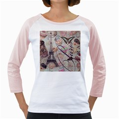 French Pastry Vintage Scripts Floral Scripts Butterfly Eiffel Tower Vintage Paris Fashion Womens  Long Sleeve Raglan T Shirt (white)