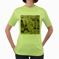French Pastry Vintage Scripts Floral Scripts Butterfly Eiffel Tower Vintage Paris Fashion Womens  T-shirt (Green)