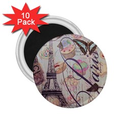 French Pastry Vintage Scripts Floral Scripts Butterfly Eiffel Tower Vintage Paris Fashion 2 25  Button Magnet (10 Pack)