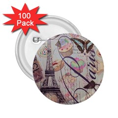 French Pastry Vintage Scripts Floral Scripts Butterfly Eiffel Tower Vintage Paris Fashion 2.25  Button (100 pack)