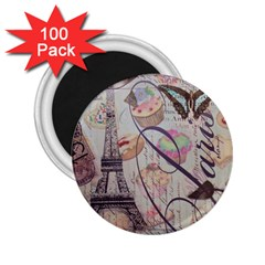 French Pastry Vintage Scripts Floral Scripts Butterfly Eiffel Tower Vintage Paris Fashion 2.25  Button Magnet (100 pack)
