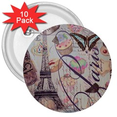 French Pastry Vintage Scripts Floral Scripts Butterfly Eiffel Tower Vintage Paris Fashion 3  Button (10 pack)