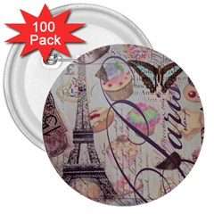 French Pastry Vintage Scripts Floral Scripts Butterfly Eiffel Tower Vintage Paris Fashion 3  Button (100 pack)
