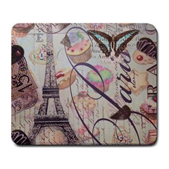 French Pastry Vintage Scripts Floral Scripts Butterfly Eiffel Tower Vintage Paris Fashion Large Mouse Pad (Rectangle)