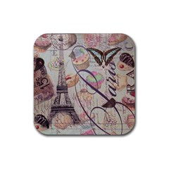 French Pastry Vintage Scripts Floral Scripts Butterfly Eiffel Tower Vintage Paris Fashion Drink Coasters 4 Pack (Square)