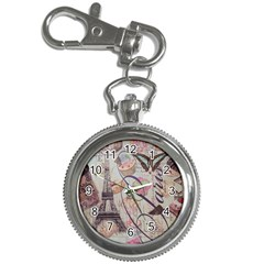 French Pastry Vintage Scripts Floral Scripts Butterfly Eiffel Tower Vintage Paris Fashion Key Chain & Watch