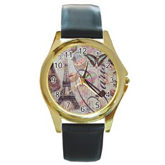 French Pastry Vintage Scripts Floral Scripts Butterfly Eiffel Tower Vintage Paris Fashion Round Metal Watch (Gold Rim)