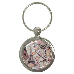 French Pastry Vintage Scripts Floral Scripts Butterfly Eiffel Tower Vintage Paris Fashion Key Chain (Round)