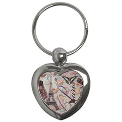 French Pastry Vintage Scripts Floral Scripts Butterfly Eiffel Tower Vintage Paris Fashion Key Chain (heart)