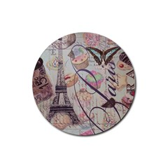 French Pastry Vintage Scripts Floral Scripts Butterfly Eiffel Tower Vintage Paris Fashion Drink Coasters 4 Pack (Round)