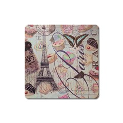 French Pastry Vintage Scripts Floral Scripts Butterfly Eiffel Tower Vintage Paris Fashion Magnet (Square)