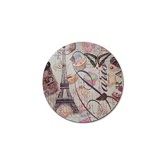 French Pastry Vintage Scripts Floral Scripts Butterfly Eiffel Tower Vintage Paris Fashion Golf Ball Marker 4 Pack