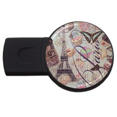 French Pastry Vintage Scripts Floral Scripts Butterfly Eiffel Tower Vintage Paris Fashion 1GB USB Flash Drive (Round)